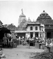 Street scene outside the east gate of Jagannath Temple, Puri, Odisha Old Photos